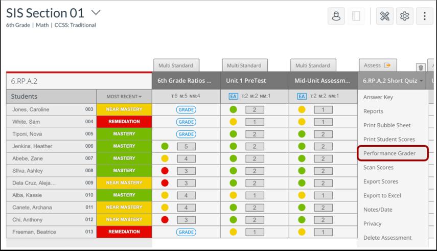 Open Performance Grader via Standard Assessment