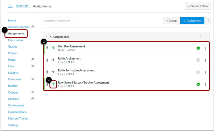 View Added Assessment in Canvas Assignments