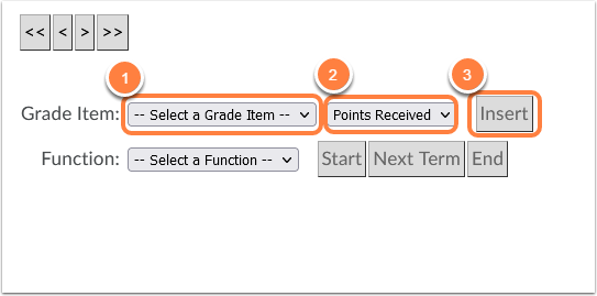 Select grade item, points received and insert