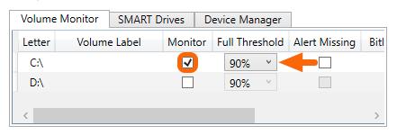 Adjusting Volume Monitoring Capacity Threshold Windows