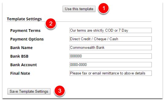Template settings
