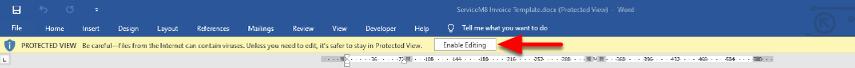enabling editing in Word