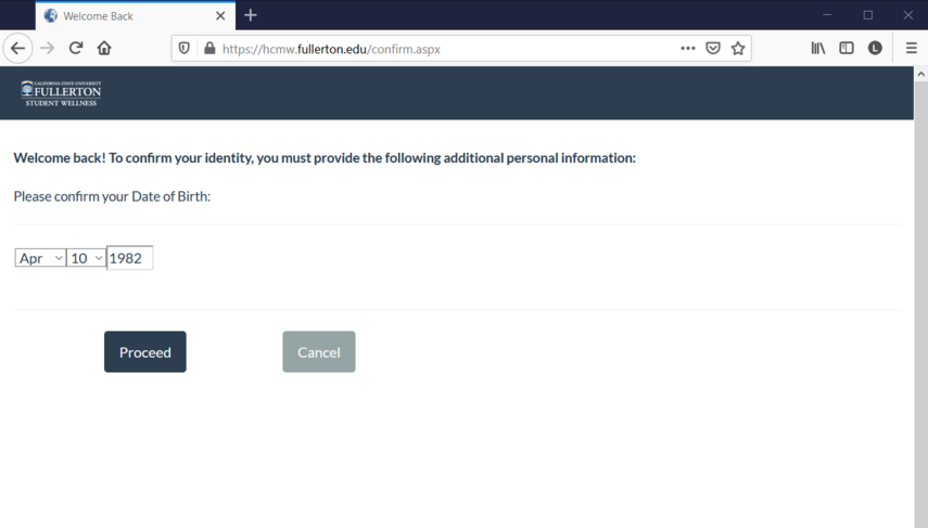 CSUF Health Services Date of Birth Authentication page.