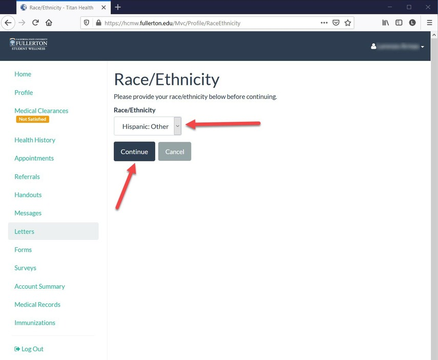 CSUF  Health Portal - Race and Ethnicity option page.