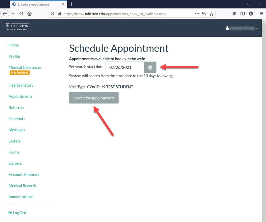 CSUF  Health Portal - Choose day of Appointment page.