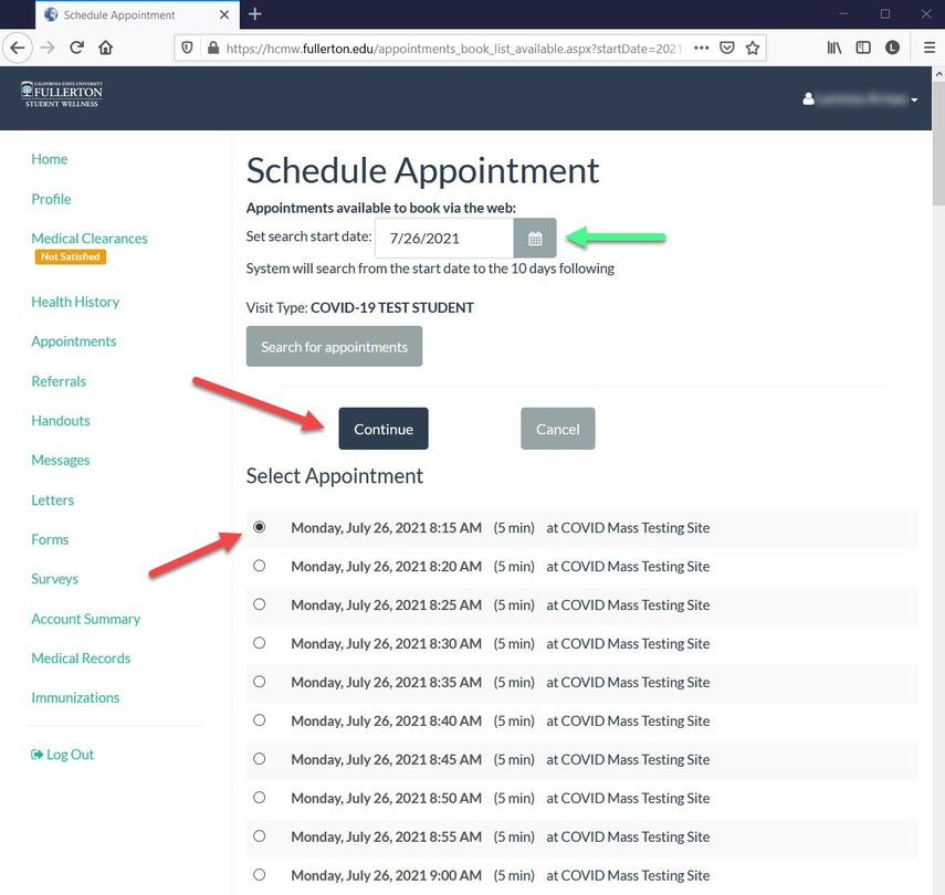 CSUF  Health Portal - Choose time of appointment option page.
