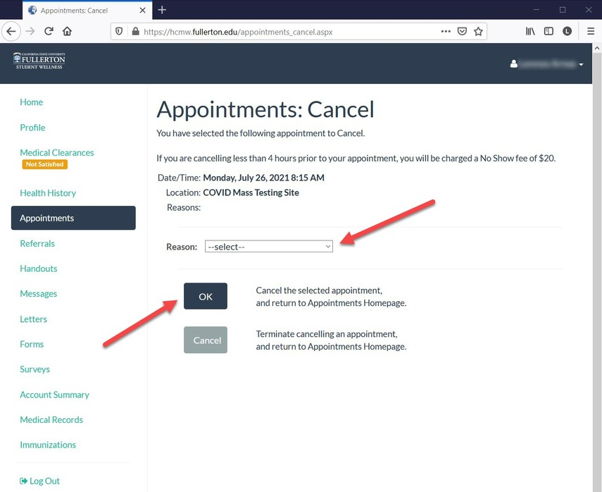 CSUF  Health Portal - Cancel Appointment from the Appointment page.