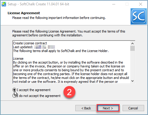 User accepts the SoftChalk License Agreement