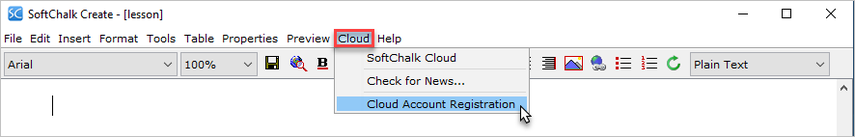 User selects to view Cloud Account Registration info for the Create app