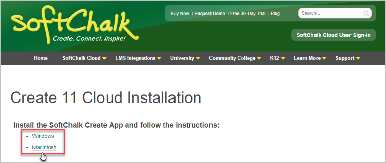User selects appropriate computer application to install the SoftChalk Create App