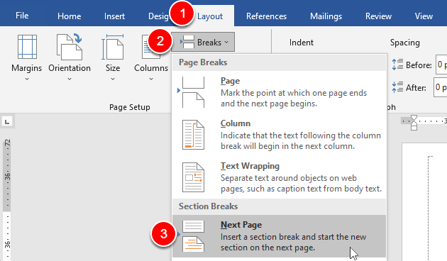 adding a new page section break
