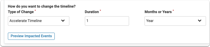 """Set """"Type of Change"""" to Accelerate Timeline"""