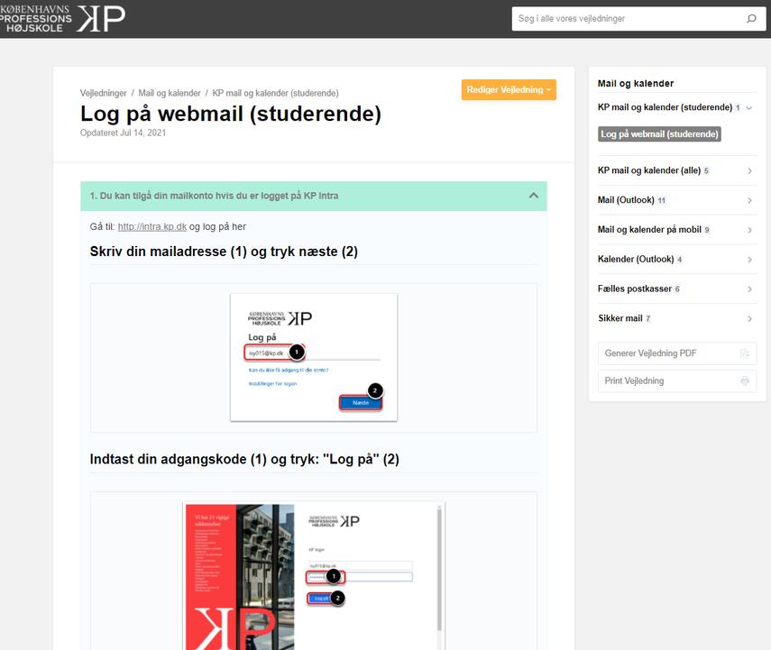 Log på webmail (studerende) | Mail og kalender | Vejledninger – Google Chrome