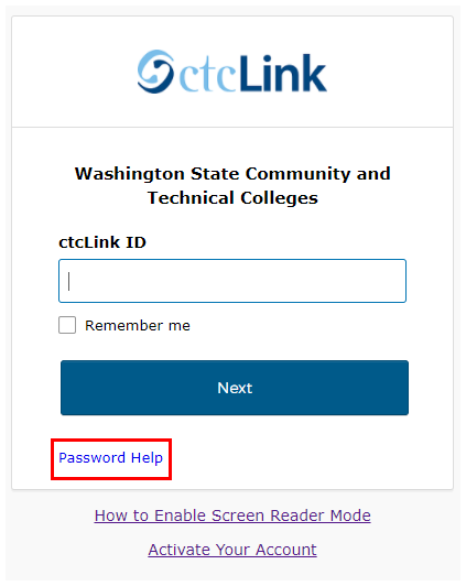 Sign in page with Password Help highlighted