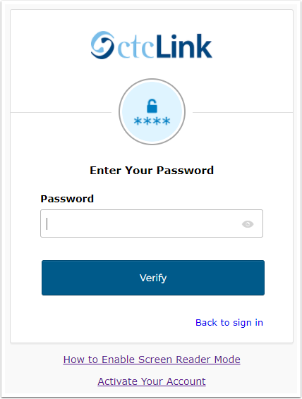Enter Your Password page