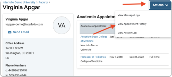 How to view past appointments on a faculty member's profile: