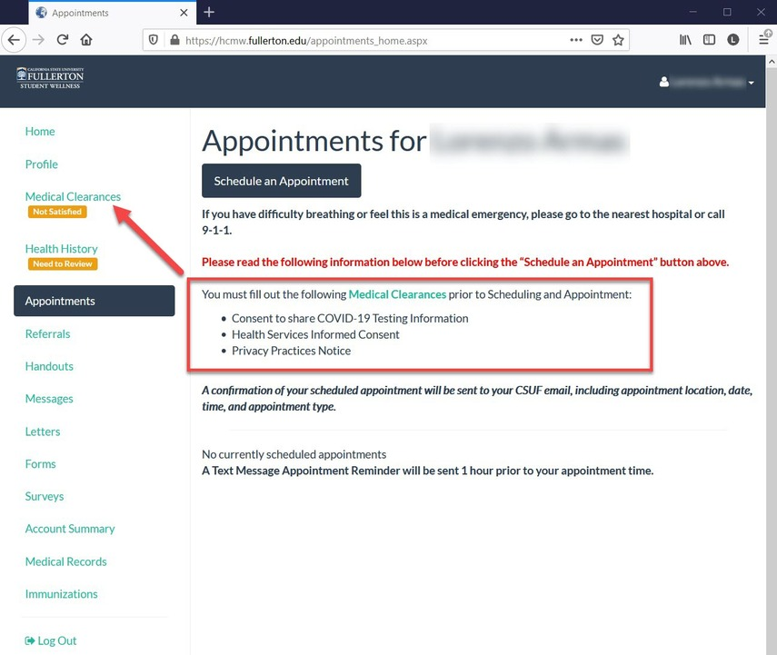 CSUF Health Portal - Appointments Page.