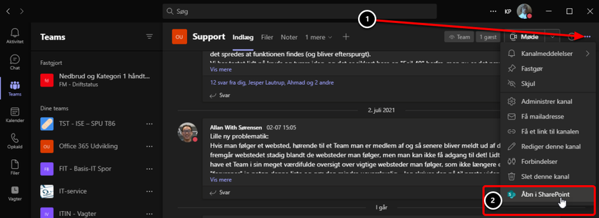 Support (Office 365 Udvikling) | Microsoft Teams