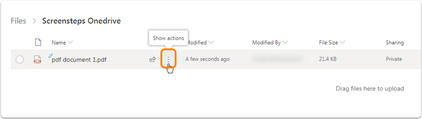 Mouse over the file (or in the case of a folder, the folder) that needs to be shared, Three dots will appear at the end of the file name ('Show actions').