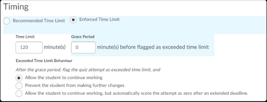 Enforced Time Limit options