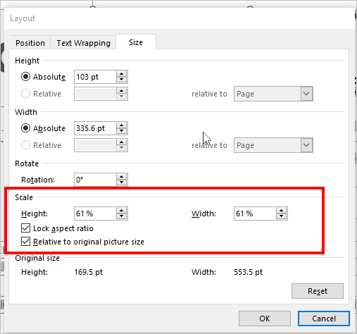 adjusting height and width of images in Word