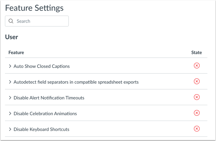 View Feature Settings
