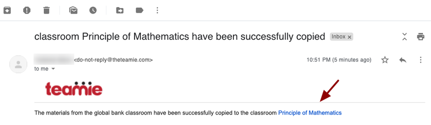 classroom Principle of Mathematics have been successfully copied - nikhil@theteamie.com - Teamie Pte Ltd Mail