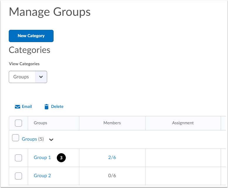 In Manage Groups, click the group name that you want to enrol / unenrol the user
