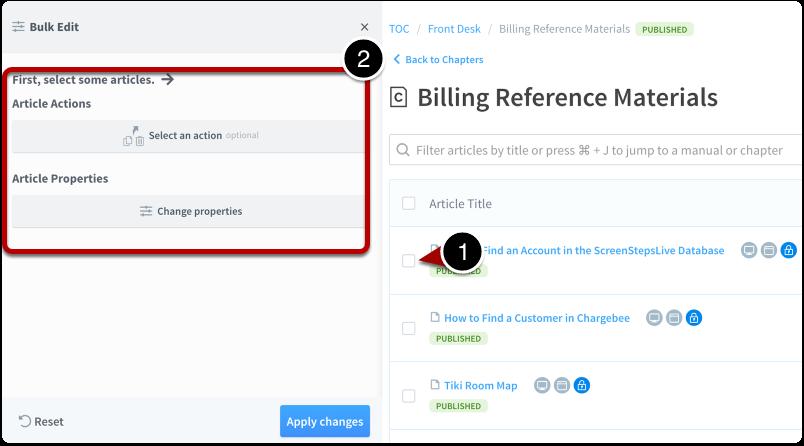 Bulk edit interface