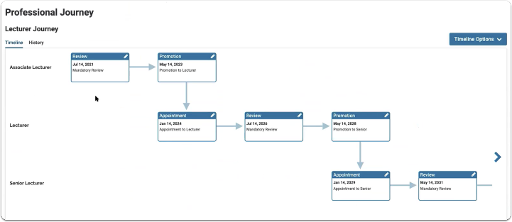 Step 3: You now must manually update the Professional Journey (timeline)