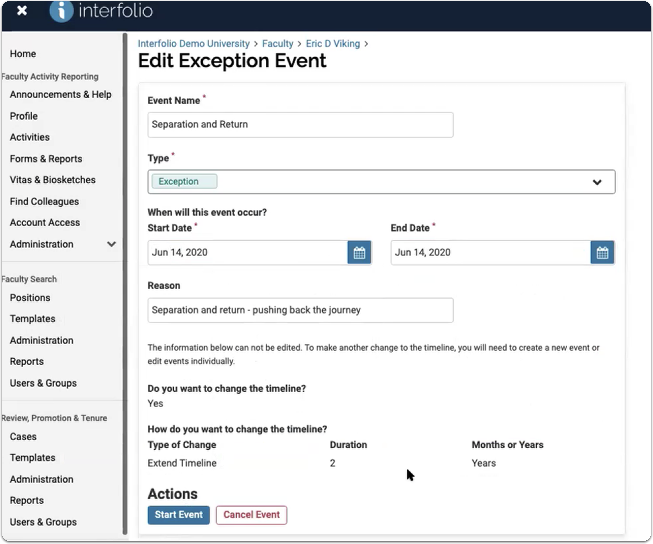 We've added an exception event with a Start Date the same as the contract start date.Select Preview Impacted Events to review the impacted timeline before saving.