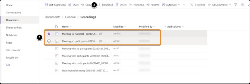 Download recordings