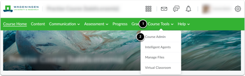 Navigate to Course tools in your course page, then click Course Admin option