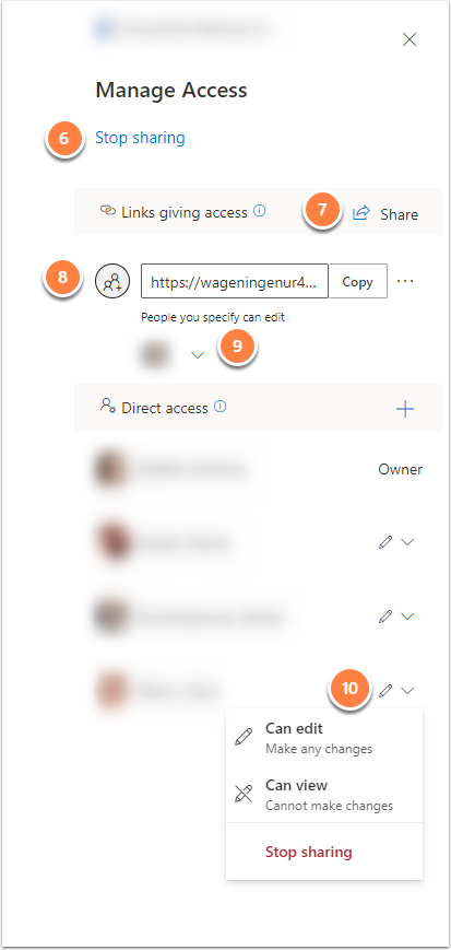 Manage access settings