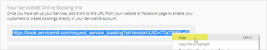 copying your ServiceM8 Online Booking link