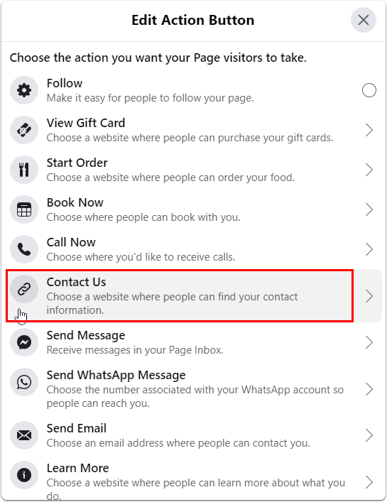 selecting Contact Us as action button