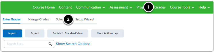 Navigate to your course, then click on Grades > Click on the Setup Wizard tab