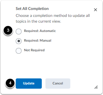 Set all completion and click update