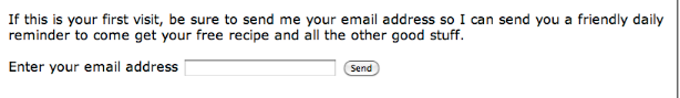 The webpage form will look something like this on your web site.