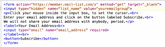 We will send you a snippet of HTML to paste into your web site, wherever you want.