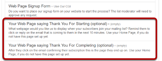 """You will be taken back to the previous screen where you will see two options under """"Web Page Signup Form"""" is now active:"""