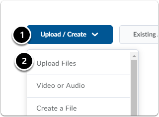 In content area, while in a mudule click Upload / Create. Then From the drop-down menu, click Upload Files
