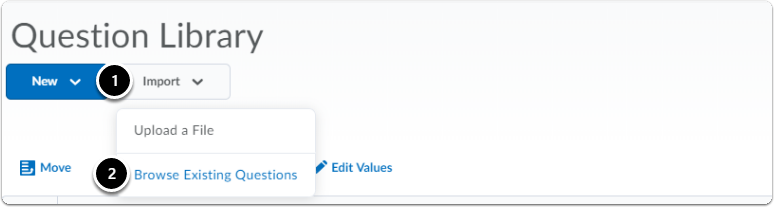 Click Import button, then click Browse Existing Questions
