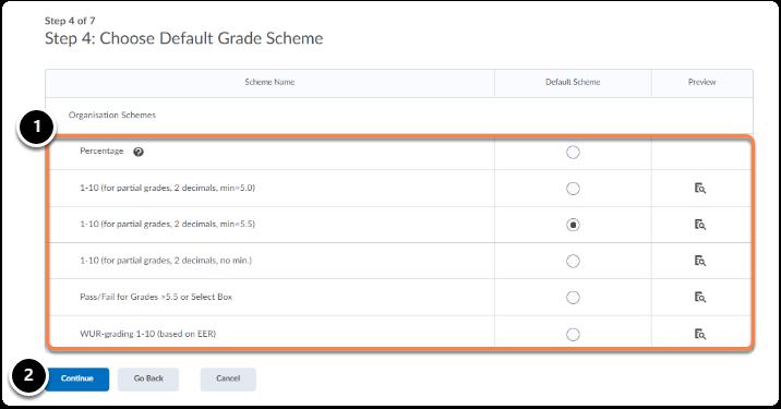 Choose Default Grade Scheme