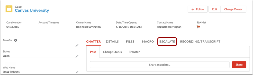 View Case Actions