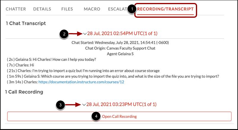 View Recording/Transcript Tab