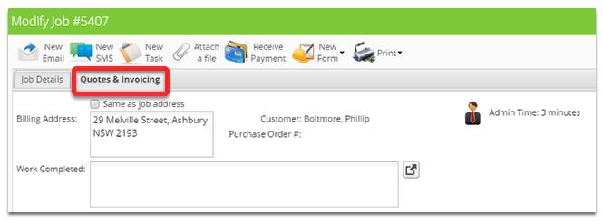 Click Quotes & Invoicing tab