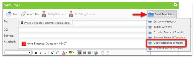 From the New Email, click Email Templates and select Quote Response Template