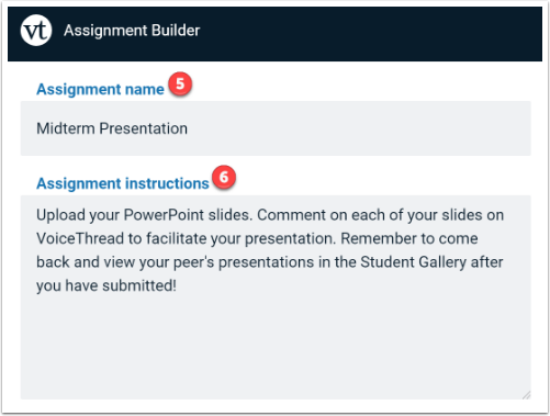 Assignment Name and Instructions input boxes