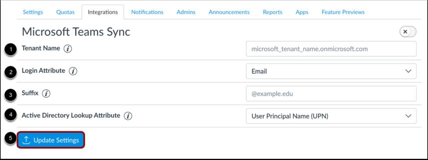 Enter Microsoft Teams Details